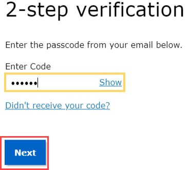 SRA Login. Enter your two step verification code.