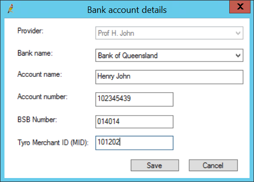 Bank account details Tyro for providers
