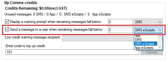 Bp Comms Warning Prompt Configuration