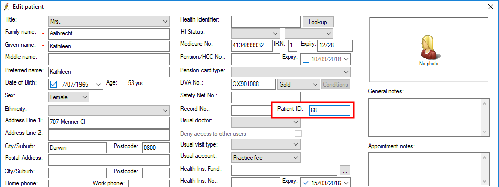 Demographics Patient ID