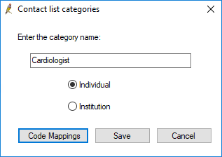 Contact list categories