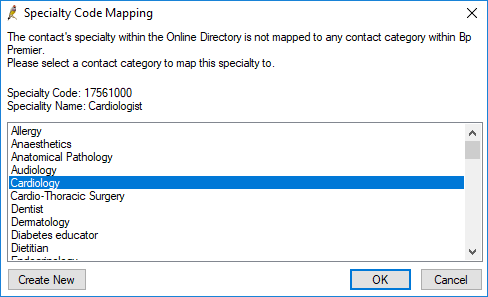 Specialty Mapping to Contact Category
