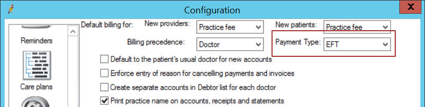 Configuration for Tyro setting the payment type