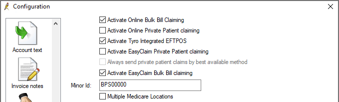 Activate direct bill claiming in Configuration