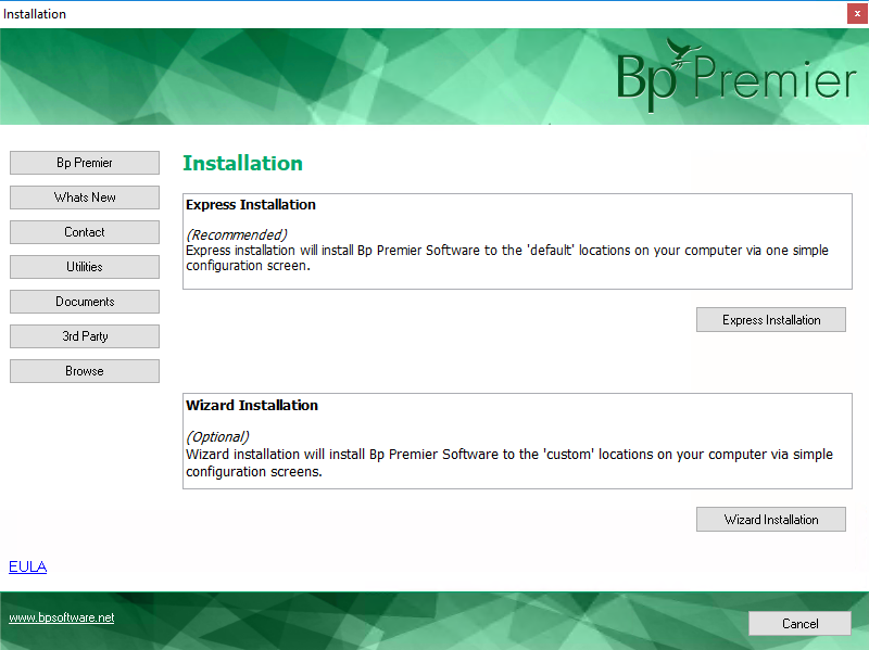 Installer options screen