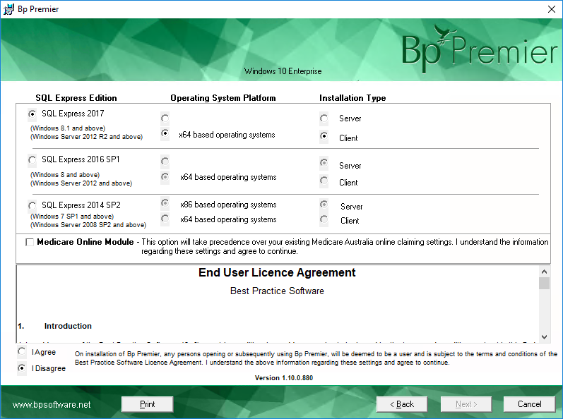 Select Client Database and Medicare Module screen
