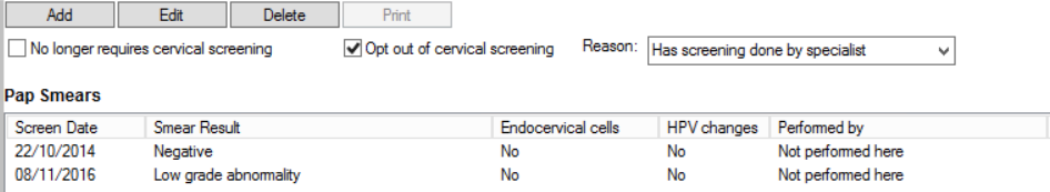 Cervical screening opt-out