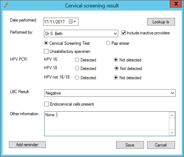 Cervical screening result screen