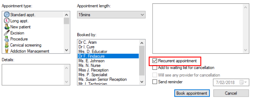 Book recurrent appointment