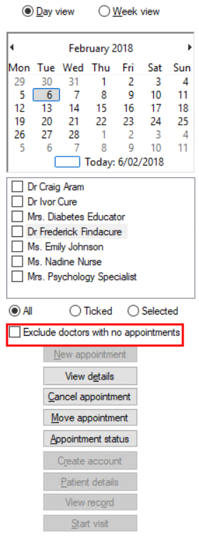 Exclude doctors with no appointments option