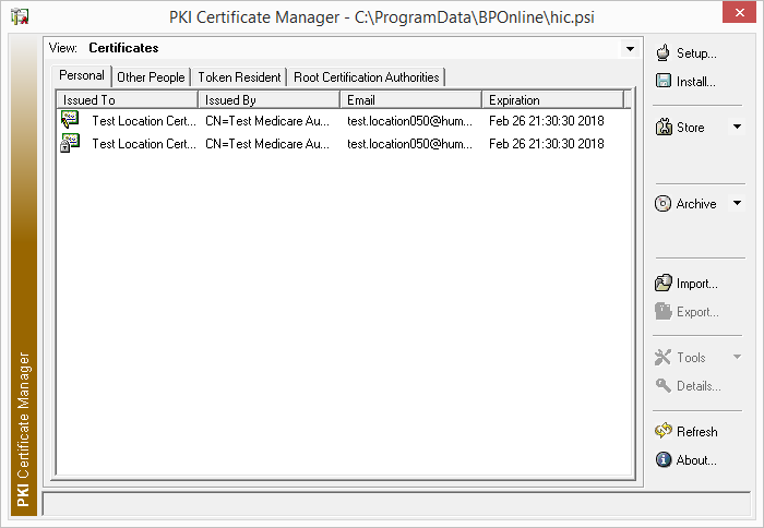 PKI Certifcate Manager opening screen