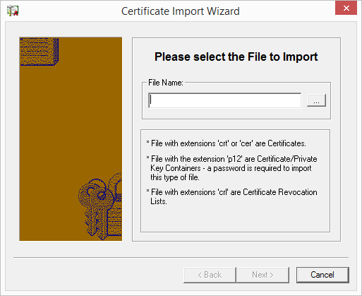 Certificate Import Wizard import file