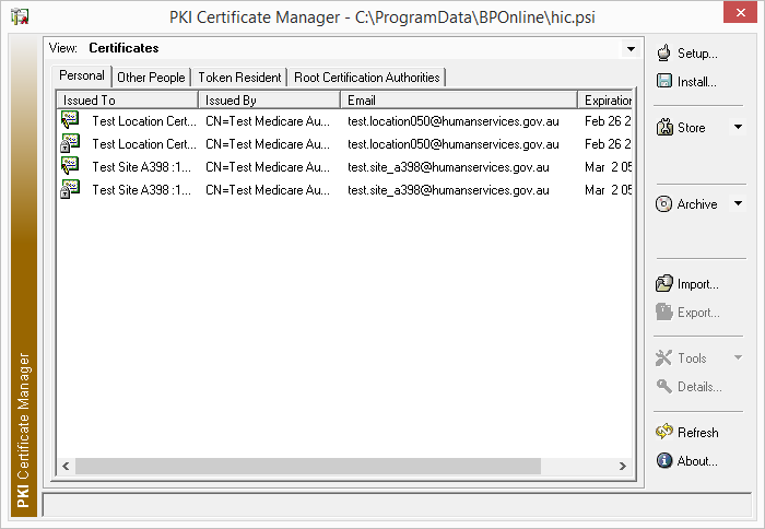 PKI Certificate Manager all imported