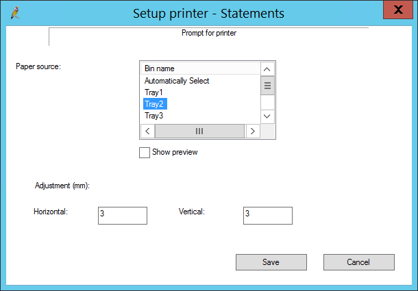 Set up printer example