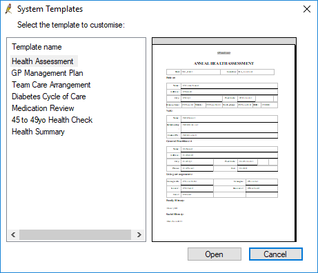 System templates list